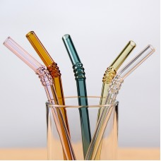 """Reusable Bent Glass Drinking Straws  7.4""""*8mm Multi Color Rotating bend"""