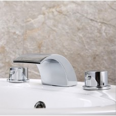 Mount Double Handles Waterfall Widespread Bathroom Sink Faucet-Chrome