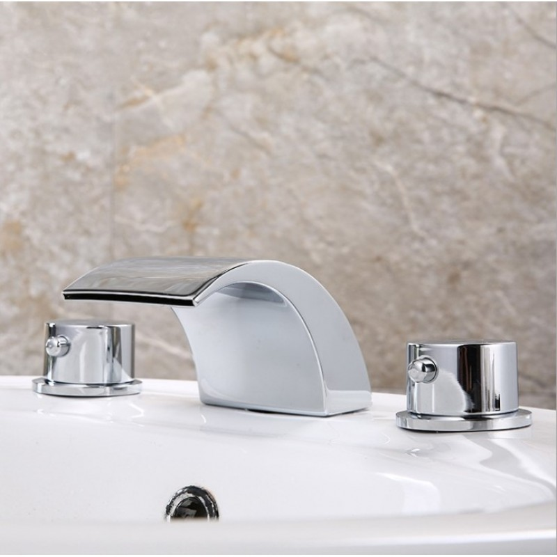 Waterfall Widespread Bathroom Sink Faucet Chrome