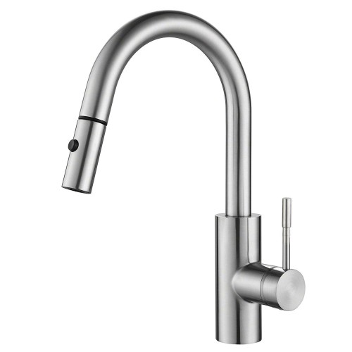 Single Lever Pull Down Kitchen Faucet, Stainless Steel