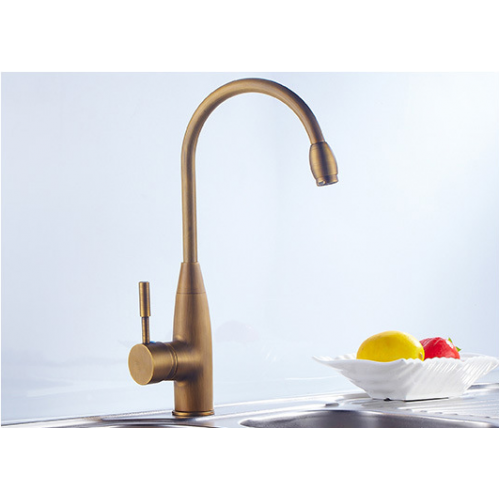 Slim High Arc  Antique Brass Deck Mounted Single Handle Kitchen Mixer