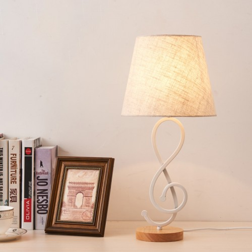 Wrought iron cloth cover with switch bedside study table lamp