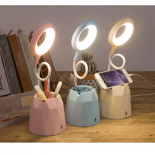 LED Desk Lamp with USB Charging Port for Study, White Dimmable Table Lamp with Pen Holder or Phone Stand,4000K Eye-Caring Table Lamp, Dimmable Office Light