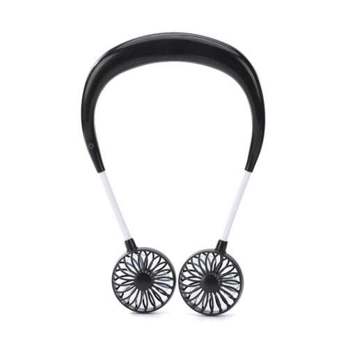 Hand Free Personal Fan - Portable USB Battery Rechargeable Mini Fan - Headphone Design Wearable Neckband Fan Necklance Fan Cooler Fan with Dual Wind Head for Traveling Outdoor Office Room
