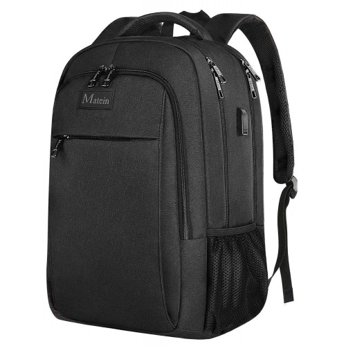 Travel laptop backpack, business anti-theft ultra-thin and durable laptop backpack with USB charging port, waterproof school men and women computer bag suitable for 15.6-inch laptops and laptops