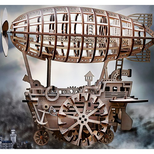 ROKR Air Vehicle: Mechanical Gears Moving Wooden 3D Airship Puzzle Model