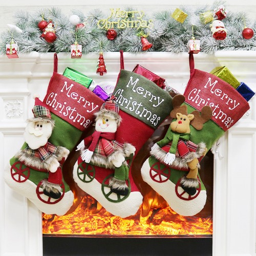 "Christmas Stocking, 18"" Large Size Christmas Decorations Stocking 3D Santa Snowman Reindeer Classic Xmas Character Gift & Candy Pouch Bag for Christmas Decorations and Party Accessory"