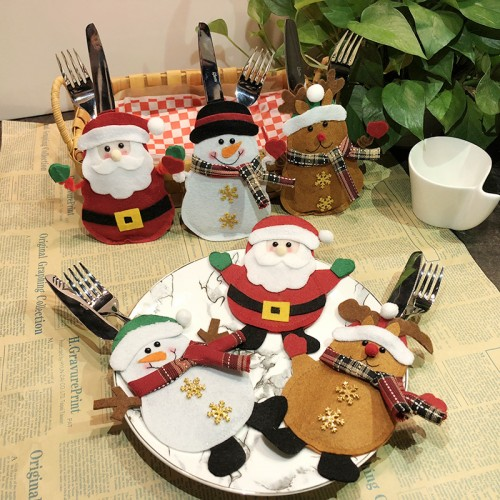 6pcs Christmas Cutlery Bags Christmas Silverware Holders Knife Fork Tableware Pockets Xmas Party Decoration