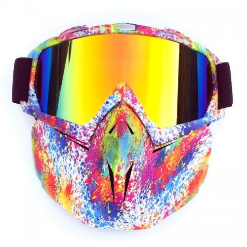 Motorcycle Dirt Bike ATV Goggles Mask Detachable Harley Style Protect Padding Helmet Sunglasses Road Riding UV Motorbike Glasses