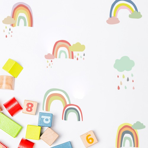 Wall Sticker,  Kawaii Colorful Rainbow Wallpaper Vinyl Decal Mural Kid's Room Decor Paper Sheet Baby Nursery Room Set