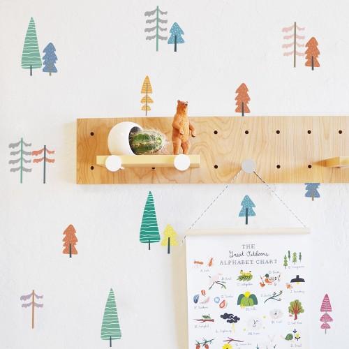 Wall Sticker,  Kawaii Colorful Xmas Christmas Tree Wallpaper Vinyl Decal Mural Kid's Room Decor Paper Sheet Baby Nursery Room Set