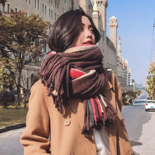 Women Winter Cashmere Warm Knit  Scarf Tassels Soft Shawl stripe Scarf Various Colors