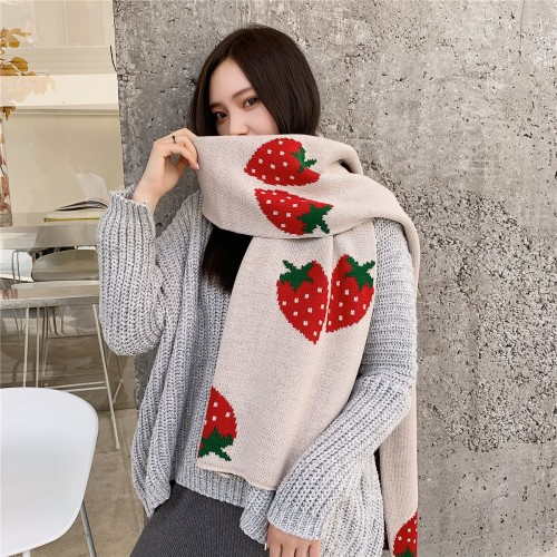 Solid color Strawberry Winter Warm  Scarf Blanket Stylish Long Shawl Wrap