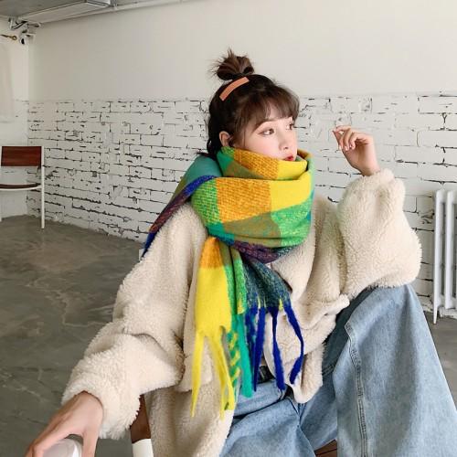 Women's Fashion Big Grid Winter Warm Large Plaid Scarf Blanket Stylish Long Shawl Wrap