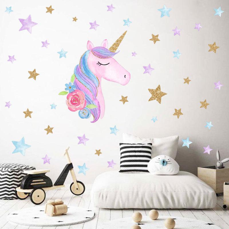 Unicorn Wall Stickers for Girls Boys Bedroom, Large Vinyl ...