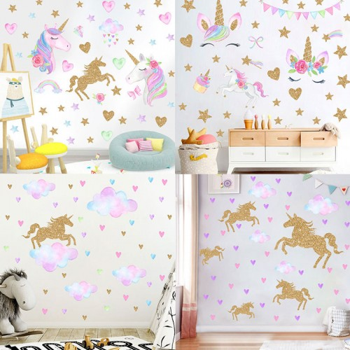 Unicorn Wall Stickers for Girls Boys Bedroom,  Large Vinyl Home Decal for Kids Living Room Bedroom Girls Room Décor