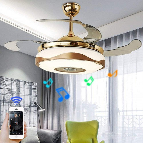 42'' Modern Ceiling Fans with Light Smart Bluetooth Music Player Chandelier 7 Colors Invisible Blades with Remote Control, dimmable LED kit