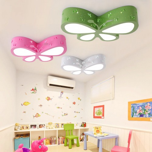 Ceiling Light for Children's Room Bedroom LED Creative Butterfly Nursery Girls Pink Princess Room Illumination, 45 cm LED 24 W