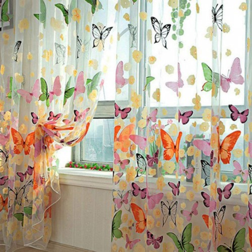 2pcs Butterfly Window Panels Drapes Curtains Sheer Voile Tulle Home Room 39.4x78.8""