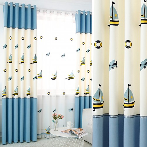 Mediterranean sailboat Window Thermal Insulated Grommet Top Curtains for Kids Room, 59 by 106 inch (1 Panel)