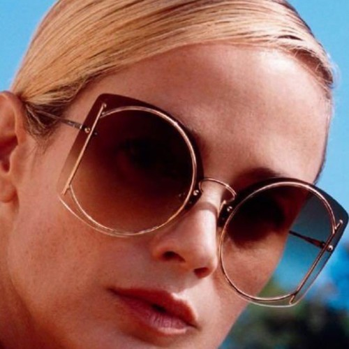 Ladies fashion round metal big box sunglasses
