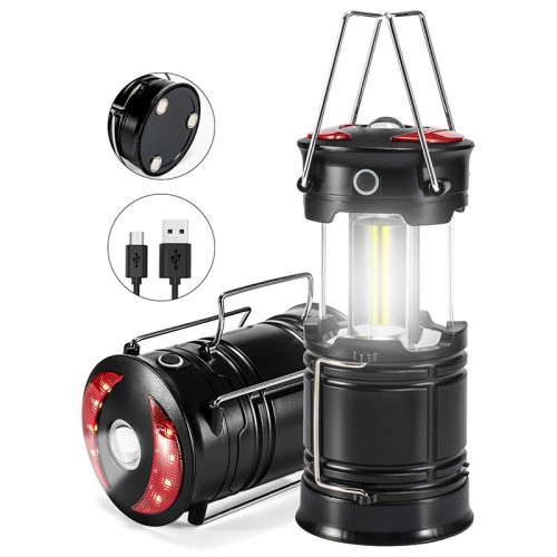 Camping Lantern Flashlight Rechargeable COB LED Light with Magnetic Base & Handle, 4 Modes Portable Emergency Lantern with Red Light, Foldable outdoor waterproof tent light with USB cable