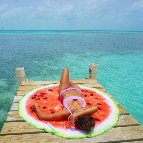 Round Towel Co. Watermelon Round Beach Towel 100% Cotton Roundie Gigantic Fruit Beach Blanket Melon Boho Terry Cloth Circle Towel 59 in