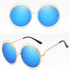 Big Round Oversized Double Wire Rim Sunglasses Metal Frame Retro Shades