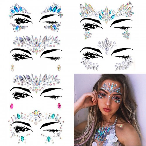 Facial gem Rhinestone Sticker,Resin eye sticker forehead stickers ,Face tattoo sticker set, free combination