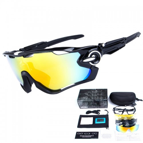 Polarized sports glasses with 5 interchangeable lenses for outdoor sports