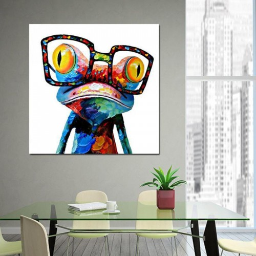 Hand Painted Oil Painting Cute Frog on Canvas Stretched and Framed Modern Pop Wall Art Decor
