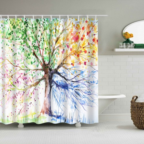 Colorful Tree Four Seasons Shower Curtain, Berry Green Red Yellow Navy Brown, Extra Long Bath Decorations Bathroom Decor Set