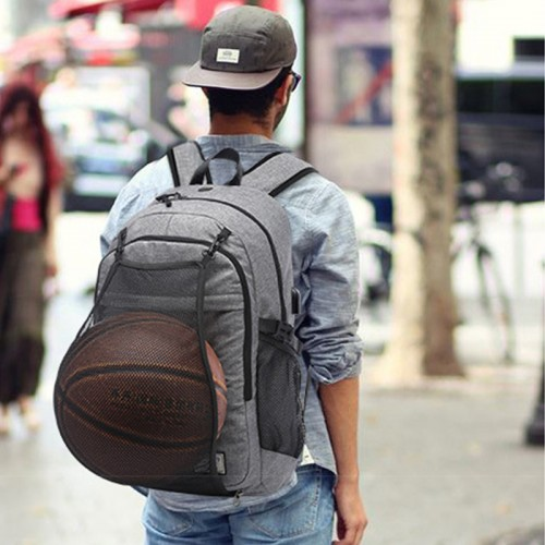 Laptop Backpack with USB Charging Port & Headphone Jack Rucksack with Basketball Net Waterproof Travel School Bag (Black)