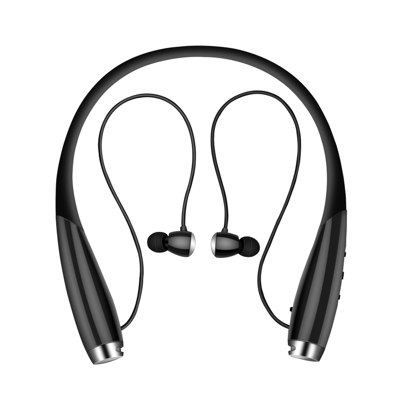 c667d06ab8c Bluetooth Headphones, Foldable Wireless Neckband Headset with Retractable  Earbuds, Sports Sweatproof Noise Cancelling Stereo Earphones with Mic