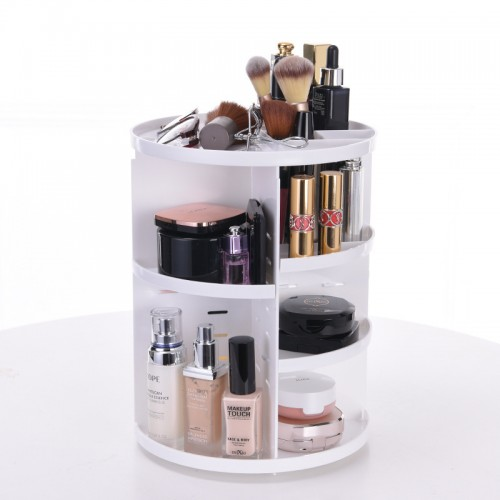 360 Rotating Makeup Organizer, DIY Adjustable Makeup Carousel Spinning Holder Storage Rack, Large Capacity Make up Caddy Shelf Cosmetics Organizer Box, Best for Countertop