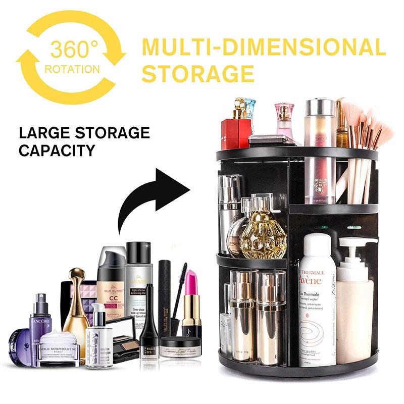 360 Rotating Makeup Organizer, DIY Adjustable Makeup Carousel Spinning Holder Storage Rack, Large Capacity Make up Caddy