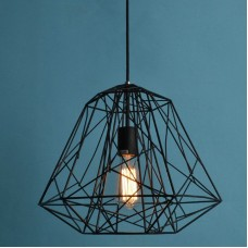 Retro Ceiling Light Shade, Vintage Pedant Light Fitting, Diamond Lampshade E27  (Black)