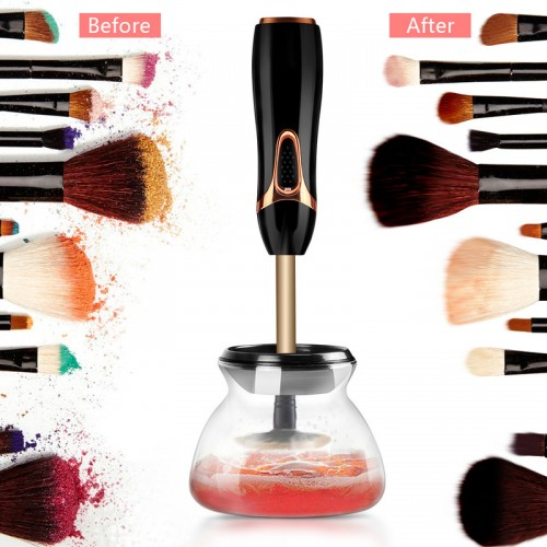Electric Makeup Brush Cleaner, Wash and Dry in Seconds, Improve Skin Health, Save Time, Money and Keep Brushes Cleaner, Battery Operated, Includes 8 Collars for Different Brush Sizes