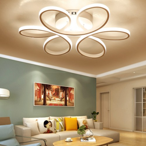 LED ceiling light dimmable modern embedded LED ceiling light pendant lamp with remote metal acrylic creative geometric design living room dining room bedroom kitchen island light, white
