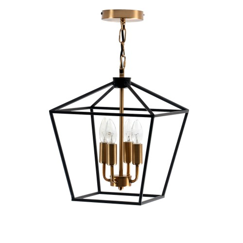 Carter square 4 chandelier light, kitchen island chandelier, steel black and gold finish