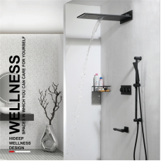 """HIDEEP""""  Black concealed shower wall-mounted copper hot and cold flying rain lift shower set"""