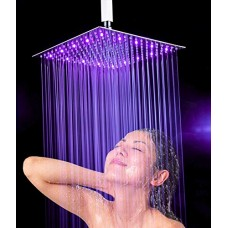 """16"""" LED Rainfall Shower Head Ultra-thin Bathroom Shower Head 3 Layer Stainless Steel Temperature Sensor Brushed Nickel(Shower Arm Not Included)"""