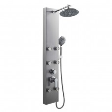 Stainless Steel Shower Panel Tower System, 8-inch Rainfall Shower Head + 6 Powerful Body Massage Spray + 5 Function Handheld Showerhead, Brass Valve with Vertical adjustable Shower Arm