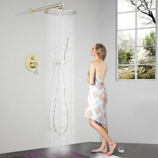 Concealed shower brushed gold into the wall shower set copper embedded box 10-inch oversized nozzle booster