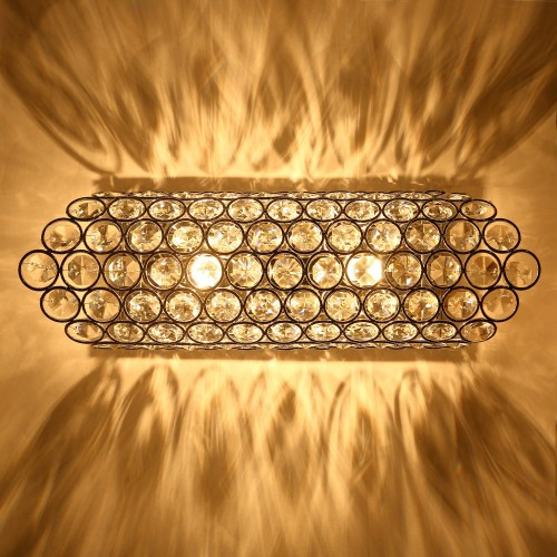 Modern Luxury Crystal Wall Light Chrome Finish Wall Sconce Lighting Fixture 2xG9 2-Lights