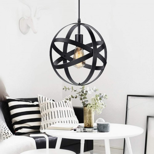 Industrial Metal Pendant Light, Spherical Pendant Light, Rustic Chandelier Vintage Hanging Cage Globe Ceiling Light Fixture for Kitchen Island Dining Room Farmhouse Entryway Foyer Table Hallway