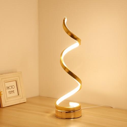 Spiral LED Desk Lamp, Curved Table Lamp, Modern Minimalist Lighting Design, 24W Multiple Color Temperature LED Table Lamp, Modern Lamp for Living Room and Bedroom