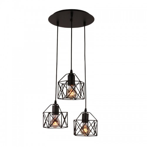 Industrial 3-Light Pendant Lighting, with Black Metal Cage Shade, Adjustable Pendant Light for Kitchen Living Room Bedroom Hallway or Bar