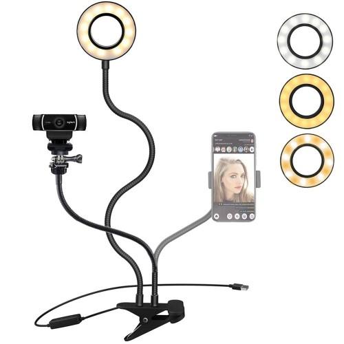 """Webcam Light Stand Phone Holder, Etubby Live Stream LED Lamp Work Lighting [3-Mode, 10-Level] for Cellphones, Gopro, Logitech Webcam C925e, C922x, C922, C930e, C930, C920, C615, Etc. (1/4"""" Threaded)"""