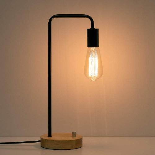 Industrial Desk Lamp, Vintage Edison Bulb Table Lamp for Dorm, Office, Bedroom, Living Room